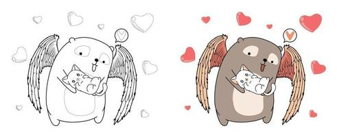 Cupid bear is hugging lovely cat cartoon coloring page vector