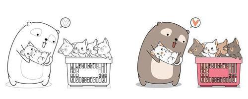 Página para colorear de dibujos animados lindo oso y gatos bebé para niños vector