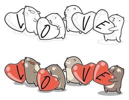 Cute bears are hugging lovely hearts cartoon coloring page vector