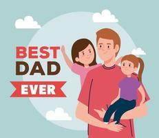 feliz día del padre tarjeta de felicitación con papá e hijas vector