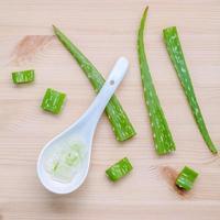 Aloe vera gel in a spoon