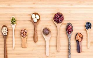 Assortment of beans and lentils in wooden spoons on wood photo