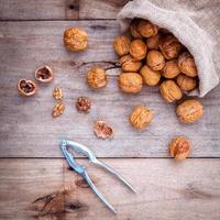 Walnuts in hemp sack