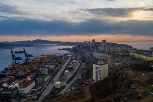 Aerial view of the commercial shipping port in Vladivostok, Russia