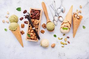 Pistachio and vanilla ice cream with nuts