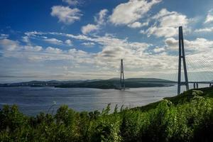 Seascape of green field by Golden Horn Bay and the Zolotoy Bridge with cloudy blue sky in Vladivostok, Russia