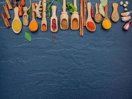 Spices and herbs in wooden spoons with copy space