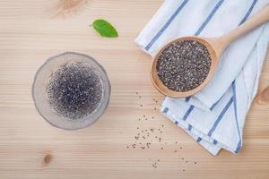 Chia seeds in glass bowl photo