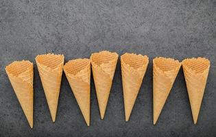 Ice cream cones on a dark gray background