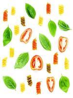 Italian pasta pattern on white photo
