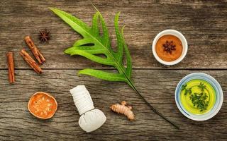 Natural spa ingredients on wood