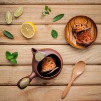 Top view of herbal tea photo