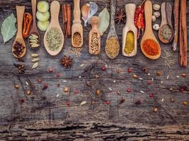 Spices in spoons on a shabby wood background