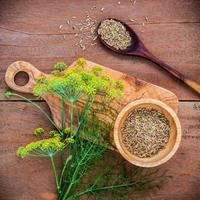 Blossoming branch of fennel and dried fennel seeds photo