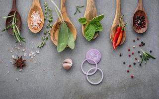 Fresh ingredients on wooden spoons