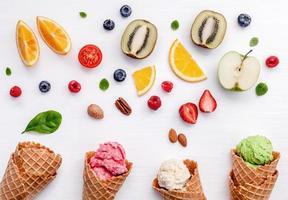 Fruit and ice cream on white