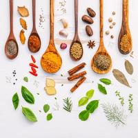 Herbs and spices with wooden spoons