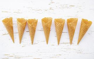 Empty ice cream cones on a shabby white background