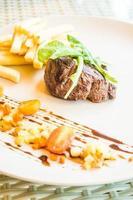 Beef steak on white plate
