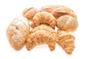 French butter croissants on white background