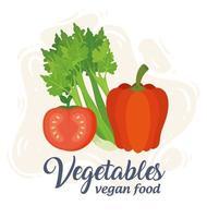 Banner con verduras, concepto de comida vegana con apio, tomate y pimiento vector