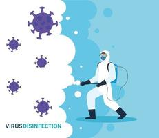 person with protective suit for the disinfection of coronavirus