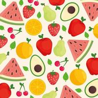 Pattern background of mixed fresh fruits and avocado vector