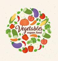 banner with fresh and healthy vegetables for vegan food concept vector