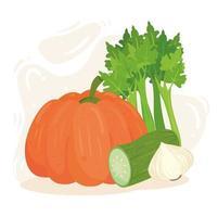 concepto de comida sana, verduras frescas y saludables vector