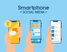 social media concept, hands holding smartphones with notifications vector