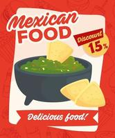 cartel de comida mexicana con descuento vector