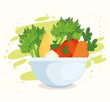 Healthy and fresh vegetables in a bowl vector