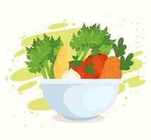 Verduras saludables y frescas en un tazón. vector
