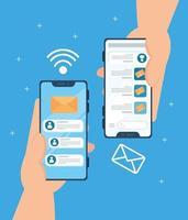 concepto de redes sociales, manos sosteniendo teléfonos inteligentes con notificaciones vector