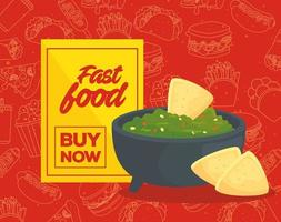 Mexican food poster with lettering vector