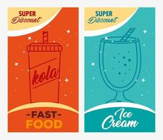 Fast food poster set with drinks vector