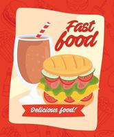 fast food poster with burger and delicious beverage vector
