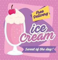 Ice cream poster with free delivery message vector