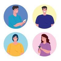 grupo de personas que usan teléfonos inteligentes para las redes sociales y el concepto de comunicación vector