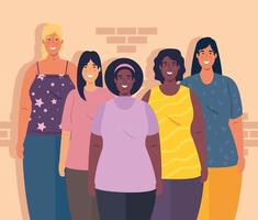 multiethnic group of women together, diversity and multiculturalism concept vector