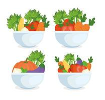 healthy food concept, fresh vegetables in bowls vector