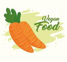 banner con zanahorias frescas veganas vector