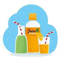 juices in bottles and in a glass vector