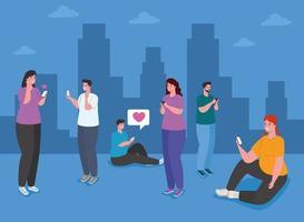 personas que usan teléfonos inteligentes en la ciudad, las redes sociales y el concepto de tecnología de la comunicación vector