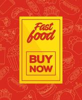 fast food poster with buy now lettering vector
