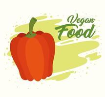 concepto de comida vegana con pimiento rojo fresco vector