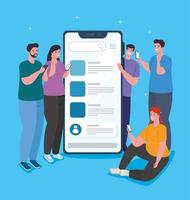 Social media concept with people chatting via smartphone vector