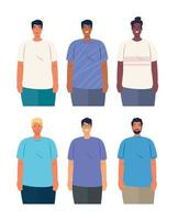Interracial men group together, diversity and multiculturalism concept vector