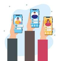 Social media concept with group of people chatting via smartphones vector