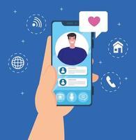 mano que sostiene el teléfono inteligente en una videollamada en la pantalla, concepto de redes sociales